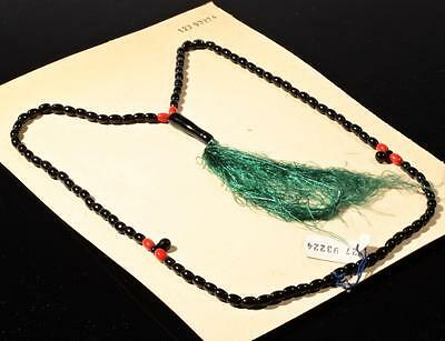 Vintage Czech 99 oval teardrop black red glass beaded Islamic prayer bead strand