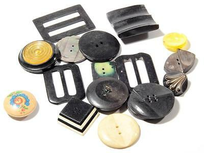 Lot (17) Czech Bohemian retro vintage wood plastic belt buckles buttons