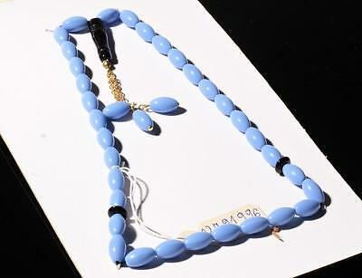 Vintage Czech 33 blue oval glass beaded Misbaha Islamic prayer bead strand