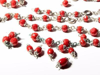 Lot (125) vintage Art Deco Czech red English cut connector glass beads