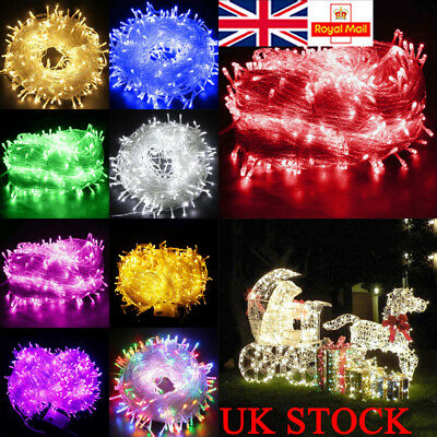 100/200/300/800/1000 LEDs Fairy String Lights Lamp Xmas Decor Outdoor Indoor UK