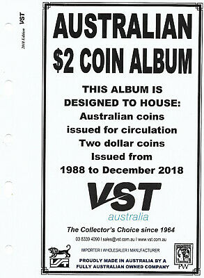 VST AUSTRALIAN $2 Small COIN ALBUM 2018 Update SUPPLEMENT PAGES