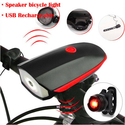 USB Rechargeable LED Bicycle Bike Cycling Front Rear Tail Light 3 Modes Lamp