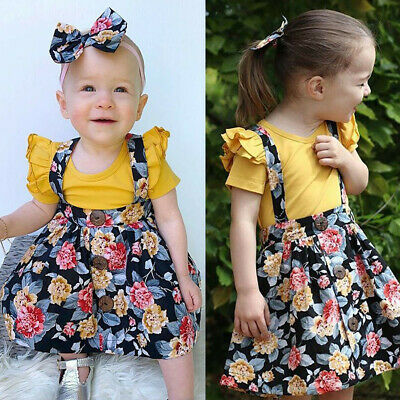 Summer Kid Baby Girl Floral Ruffled T-shirt Suspender Skirt Clothes Outfits Set