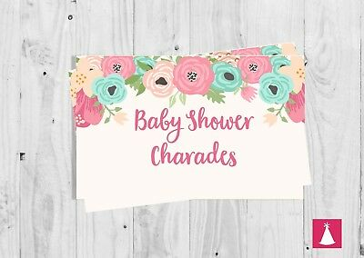 CHARADES, Baby Shower Party Game, Pink Floral, Baby Girl, Baby Shower.