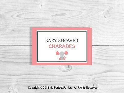 CHARADES, Baby Shower Party Game, Pink Elephant, Baby Girl, Baby Shower.