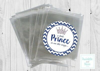 12 x Little Prince, Boy, Baby shower Bags & Personalised Stickers Favour Kit