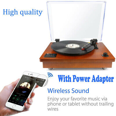 1Byone 3-speed Wooden USB Vintage Turntable Record Player Built-in Speaker New