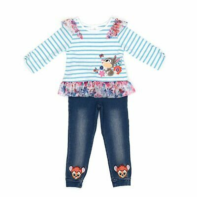 Disney Girls Bambi Green White Striped Frilly Top & Jeans Set 4 Years 3-4