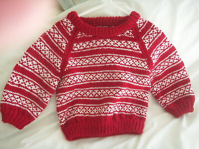 NEW Made in Uk 12-18 mths Handmade Knitted Fairisle Red and White Jumper Winter