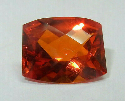 Rare Saphir orange intense coussin facetté 6.3 cts VVS 12 x 10 mm Original