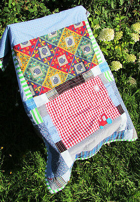 Hedgehog Tractor Newborn Gift Original Nursery Blue Patchwork Quilt Baby Blanket