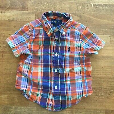 Ralph Lauren Boys Sz 12 M Collar Dress Shirt Short Sleeve Polo Pony Baby Spring