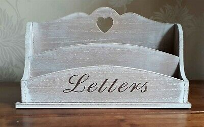 Letter Rack Natural Wood Heart Post Tidy Shabby Chic French Style 26cm New