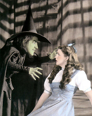 "MARGARET HAMILTON & JUDY GARLAND THE WIZARD OF OZ 4x6"" HAND COLOR TINTED PHOTO"