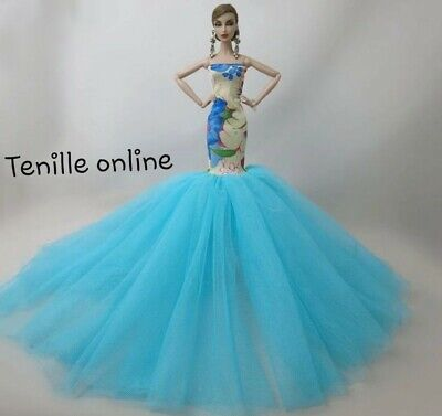 New Barbie clothes outfit princess ball gown wedding dress blue beautiful
