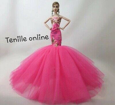 New Barbie clothes outfit princess ball gown wedding dress pink beautiful