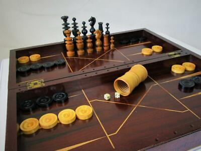 Antique Chess Set And Backgammon Board Plus 1  Sheker Dices And Counters