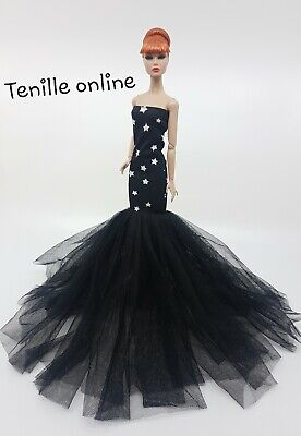 New Barbie clothes outfit princess ball gown wedding dress star black beautiful