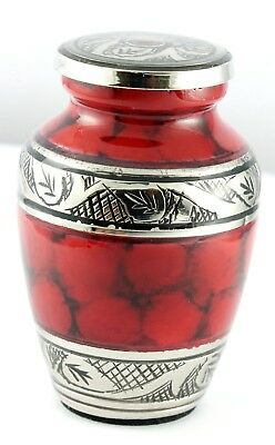 Mini Keepsake Urn For Ashes Cremation Funeral Memorial Red Small Token Ashes Urn