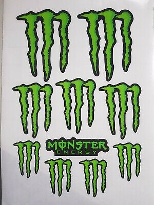 Monster Energy Vinyl Decal Sticker Set Of 10 Motocross MX Rally Sports Bike Car