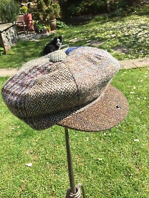 496ba3c67ff NEW GENUINE HARRIS TWEED 8 Panel Baker Boy Peaky Blinder Cap - Size S 100%