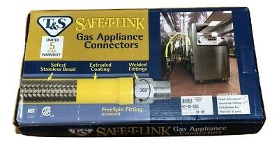 """T&S Gas Hose w/Quick Disconnect 3/4"""" NPT, 60"""" Long Includes SwiveLink Fittings"""