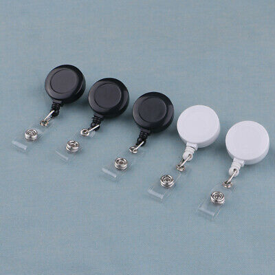 5x Retractable Reel ID Document Card Clip Badge Holders with Alligator Clips