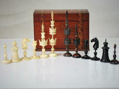 ANTIQUE  CHESS SET FINE GERMAN SELENUS PATTERN K 126 mm AND BOX NO   BOARD