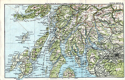 Scotland Inveraray Rothesay 1887 small orig. map + guide (18 p.) Oban Bute Islay