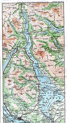 Scotland Loch Lomond Balloch 1887 orig. map + guide (4 p.) Arrochar Helensburgh