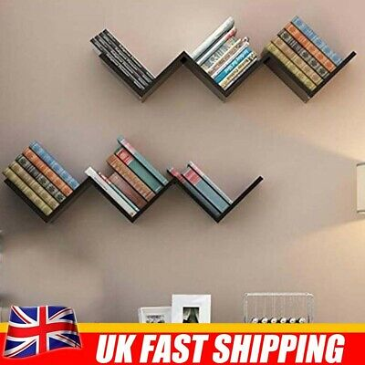 Black Floating Wall Shelves Corner Shelf Book Storage Display Bookcase Rack 45cm