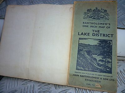 VINTAGE BARTHOLOMEW MAP of The Lake District - c1920s - English Lakeland/CUMBRIA