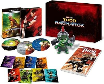 "New ""Thor: Ragnarok "" 4K UHD MovieNEX 4K ULTRA HD + 3D + Blu-ray + Hulk figure"