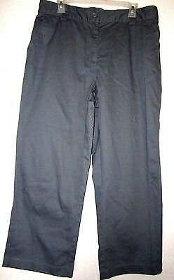 BASIC EDITIONS CLASSIC FIT Khaki Gray Flat Front Relax Casual Crop Capri Pant L