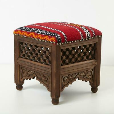 "Hand-Carved Durable Wooden Stool "" Sana "" Moroccan Handwoven Kelim"