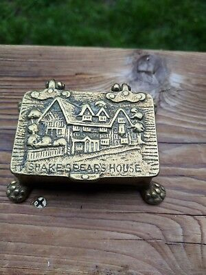 Vintage/Old Solid Brass Matches/Trinket/Stamp Box Shakespeare House