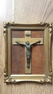 Old Framed Wooden Crucifixion with Bronze/Brass Jesus Figure /Cross/ Christian