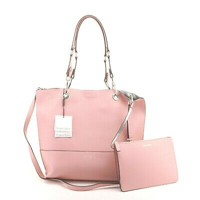 8a53053483 Calvin Klein NWT $148 Pink Silver Tote Shoulder Bag Faux Leather Reversible