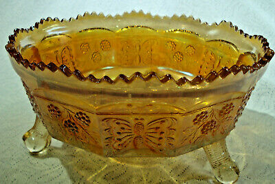 Marigold footed carnival glass Large berry bowl with 2 small bowls