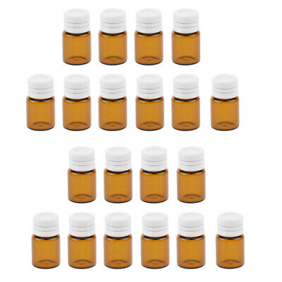 20 Piece Mini Amber Glass Vial Essential Oil Sample Bottles Containter 2ml