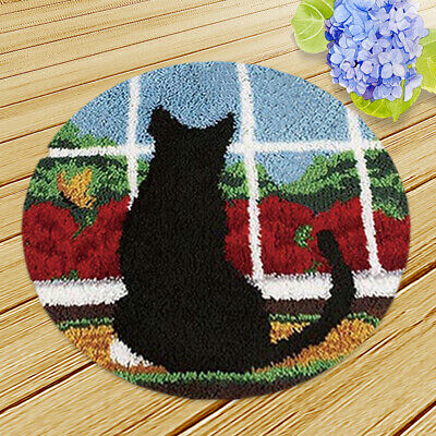 """Latch Hook Craft Kit for DIY Black Animal Cat Needle Embroidery Rug 19.6"""""""