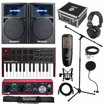 Home Recording Scarlett 2i2 MIDI USB Studio Bundle Package w Software, Akai MPK
