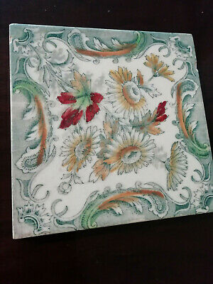 """10309) Vintage ceramic tile marked """"England"""" Green w yellow & browns floral desi"""