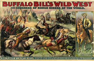 1896 Buffalo Bills Rough Riders of the World Wild Rivalries Wild West Show 20x30