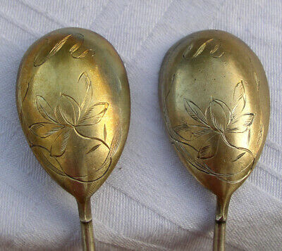 CUILLERE ANCIENNE ARGENT MASSIF RUSSE XIX ANTIQUE SOLID SILVER SERVING SPOON x 2