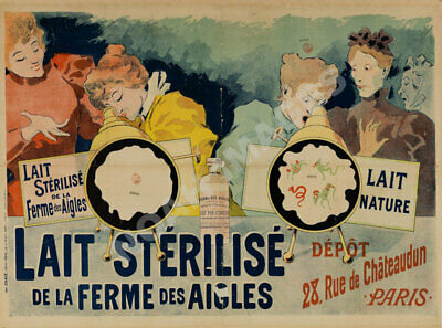Lait pur de la Vingeann Vintage French France Poster Picture Print Advertisement