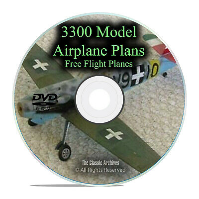3,300 Free Flight Model Airplane Aircraft Plans, RC, Remote Control, PDF DVD I27