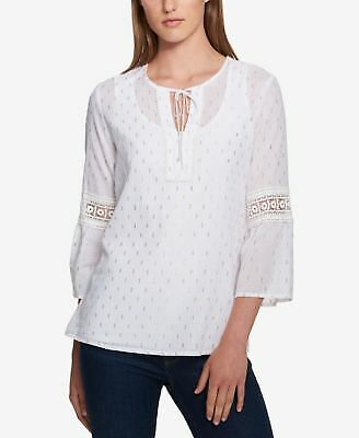 TOMMY HILFIGER Womens White Lace-detail Peasant Top L
