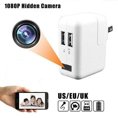 Full HD 1080P USB Wall Charger Mini Spy Motion Hidden Camera Power Adapter SP